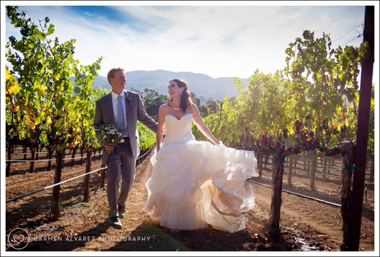 Photo of Lindsey and Scot in the vineyards at B.R. Cohn Winery in Sonoma on their wedding day